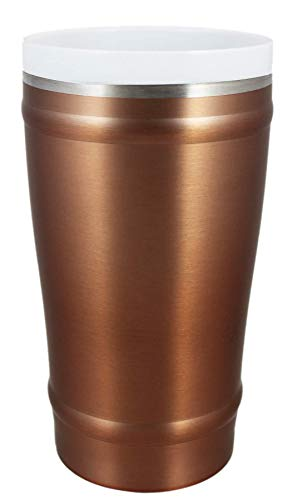 CeramiSteel 16 ounce Beer Pint Glass with Lid, Ceramic Coated Stainless...