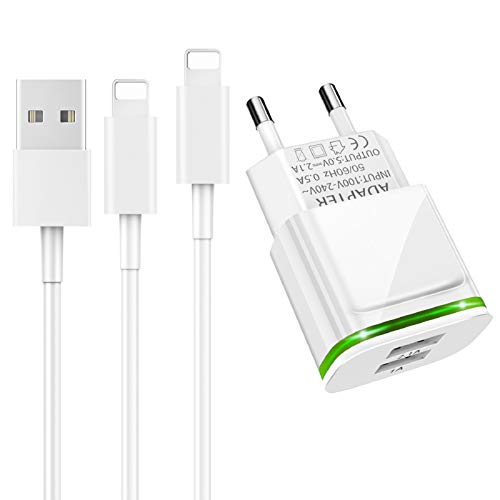 LUOATIP Cargador Phone, 3-Pack 1M Cable + Dos Enchufe USB 2.1A 5V Movil Pared Adaptador Replacement for iPhone 11 XS/XS MAX/XR/X 8/7/6/6S Plus SE/5S/5C, Pad Air Mini Pro, Pod