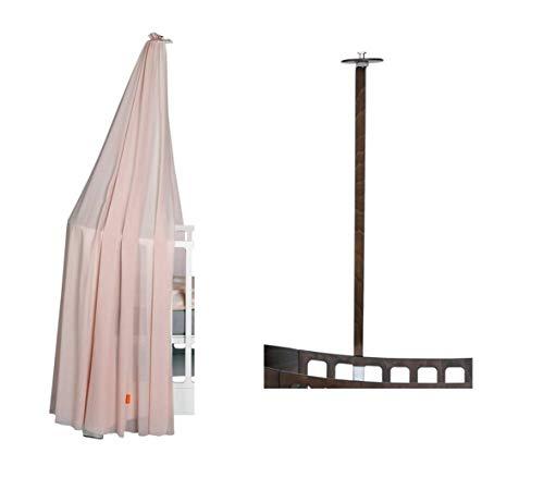 Leander hemelframe walnoot voor leander babybed + hemel (sluier) soft pink
