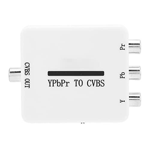 CHENQIAN Video Converter Mini YPbPr zu CVBS Audio Video Adapter für Projektoren Monitore Fernseher, Weiß