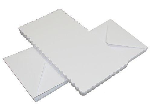 Crafts UK Lot de 50 Cartes dentelées et enveloppes Blanches - 12,7 cm x 12,7 cm, Blanc, 25 x 55 mm