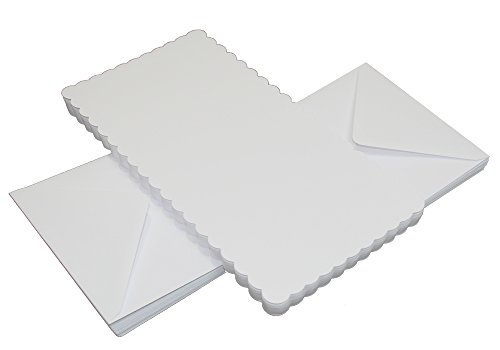 Crafts UK Lot de 50 Cartes dentelées et enveloppes Blanches - 12,7 cm x 12,7 cm, Blanc, 25 x 55 mm