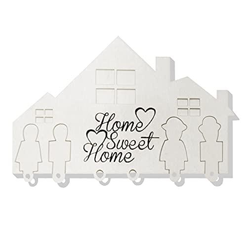 Elpinto Porta Chiavi a Muro Moderno per Casa con Portachiavi Personalizzato per i Membri della Famiglia - Vero Legno