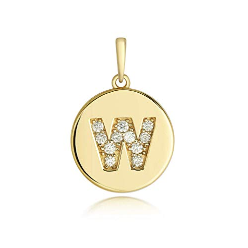 J R Jewellery Diamond Initial W Pendant Yellow Gold Ladies Hallmarked All Chain Lengths Boxed