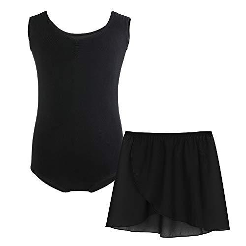 Balletttrikot Ballettanzug Ärmellos Ballettkleid aus Baumwolle fur Kinder Mädchen Damen (150(140-150 cm,12-13 Jahre), Schwarz mit Rock)