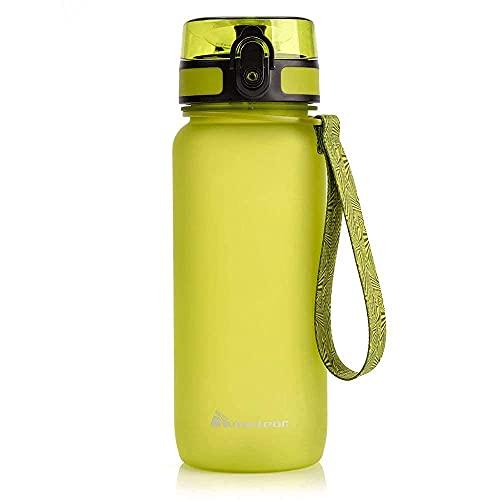 meteor Bottiglia Acqua Senza BPA Borraccia per Bambini Adolescenti e Adulti Ideale per Bici Sportivo Campeggio Scuola Ufficio Palestra Plastica Tritan Diverse Dimensioni e Colori (650ml, Verde)