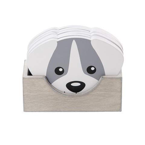 Dog Themed Wooden Coaster with Holder Set of 6 – Grey, Wood Coasters for Drinks, Dog Gifts for Dog Lovers by SPOTTED DOG GIFT COMPANY