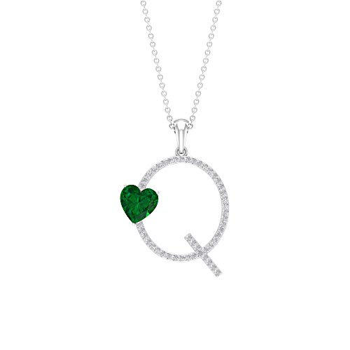 Collar de corazón esmeralda de 7 mm, collar con letra Q, colgante de oro moissanita de 0,30 quilates verde
