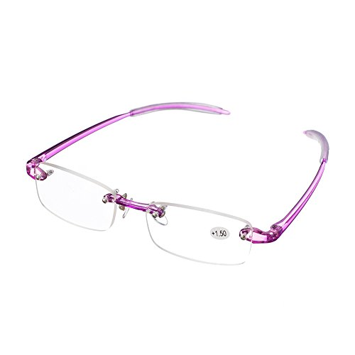 Rimless Lightweight Travel Readers with Gel Temples and Glasses Case (+2.00)