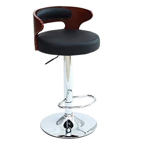 ZHJBD Meubelkruk/Hydraulische Kruk Comfortabele Verstelbare Hoge Kruk met Achtersteun Retro Barkruk Hout Eenvoudige Bar Stoel Salon Kruk Zonder Wielen PU Leer