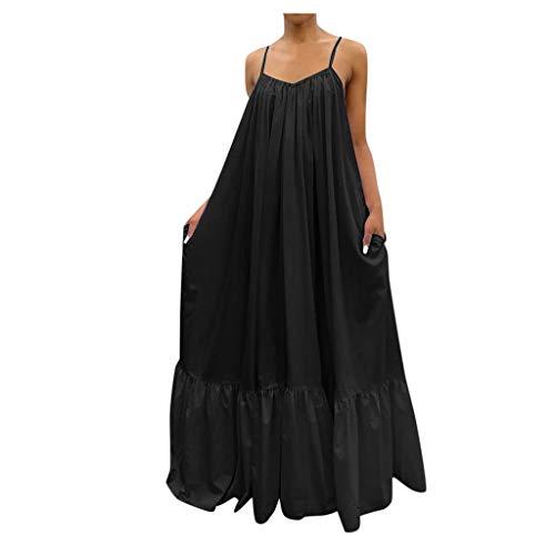 XWANG Vestido de verano para mujer, sin mangas, maxivestido de espagueti, largo, vestido de fiesta, cóctel, playa, casual, suelto, monocolor, bohemio, espalda descubierta, vestido de noche 40-negro L