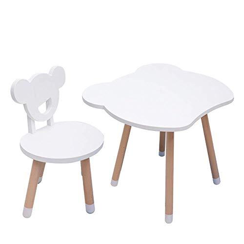 N/Z Living Equipment Nordic Minimalist Massivholz Kindertisch und Stuhl Set mit 1 Schreibtisch und 1 Hocker Cartoon-Form mit Gummi rutschfeste Fußabdeckung Einfache Montage (Farbe: Pink)