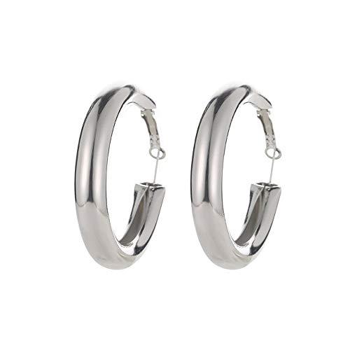 Bxzhiri Hoop Earrings for Women Punk Rock Minimalist 50Mm Thick Tube Earrings Gold Alloy Round Circle Hoop Earrings