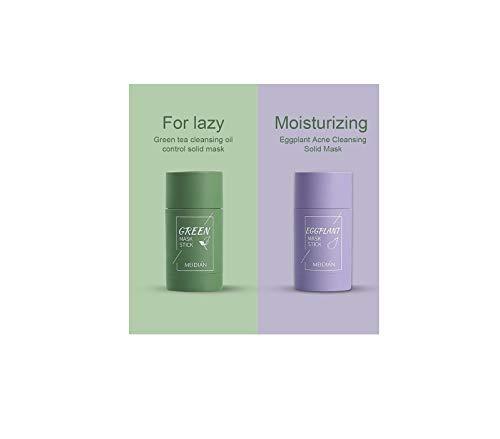 Fossen Máscara de limpieza profunda, máscara exfoliante activada, limpieza profunda, poros, máscara purificadora, control de aceite, máscara hidratante de limpieza profunda (Green Tea + Eggplant)