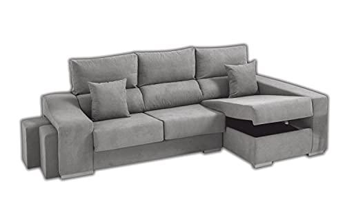 Sofa Lifeream Chaise Longue Izquierdo 5 Plazas | Arcón Abatible + 2 Puffs | Respaldos Reclinables Ergonómicos | Asientos Extensibles Deslizantes | Gris Argenta