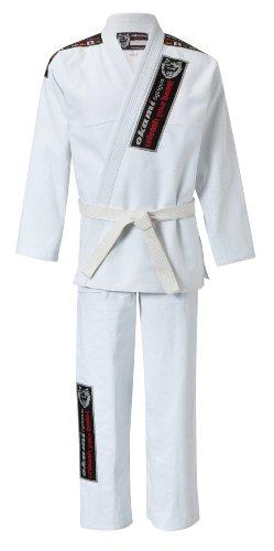 OKAMI Fightgear Kimono Uni BJJ Gi Fighter, weiß, A1 (ca. 155-165 cm), 10-0001