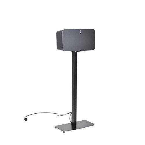 "Universal Sonos Speaker Mount Stand - Reinforced Steel 2nd Gen Play 5 Sonos Speaker Holder w/ 14.3 x 6.5 Inch Speaker Tray, Heavy Duty 14.5"" x 9.4"" Base, Powder Coat Finish - Pyle PSTNDSON17, Black"