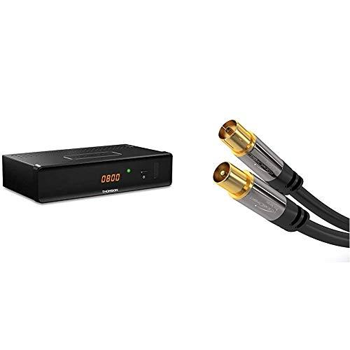 THOMSON THC301 HD Receiver für digitales Kabelfernsehen DVB-C Full HD (HDTV, HDMI, SCART, USB, Mediaplayer) schwarz, 3 Jahre Garantie & KabelDirekt  Antennenkabel - 2m