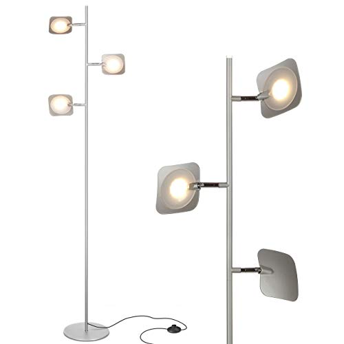 Brightech Tree Spotlight LED Floor Lamp - Very Bright Reading, Craft and Makeup 3 Light Standing Pole - Modern Dimmable & Adjustable Panels, Minimal Space Use - Silver
