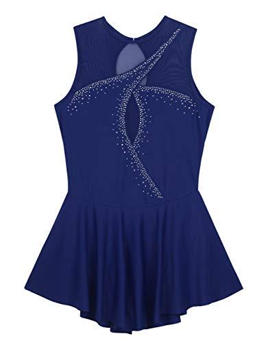Damen Leder Dessous Korsett, Netzstoff-Verbindungsstücke, für Erwachsene Damen mit Schloss-Loch mit Strass glänzend Glänzend Eiskunstlaufkleid Ballettkleid M marineblau