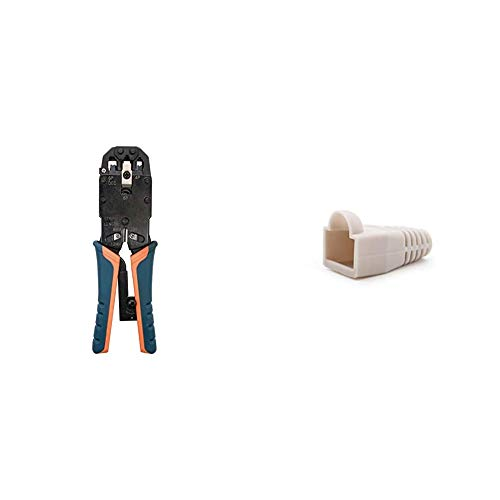 NANOCABLE 10.31.0102 - Tenaza Metalica de carraca para crimpar Cables RJ10/RJ11/RJ12/RJ45 + 10.21.0301-OEM - Funda para Conector de Cable de Red Ethernet RJ45, Gris, Bolsa de 10 Unidades