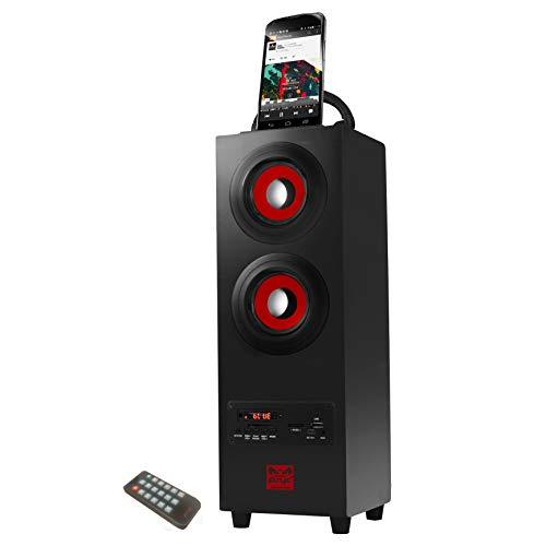 Sumvision Tragbare Wireless Bluetooth Tower Lautsprecher Torre Bluetooth Tower Lautsprecher Ständer für Handy iPad Samsung Galaxy mit eingebautem Radio