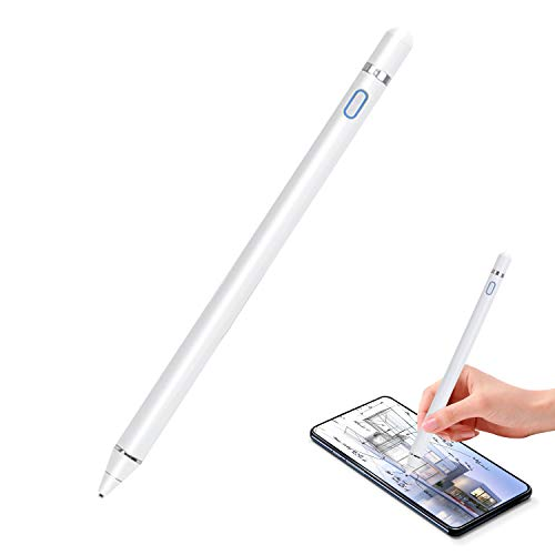 Active Stylus Pen for Touch Screens, Digital Pens Rechargeable 1.5mm Fine Tips Smart Pencil Compatible with iPad and Most Tablet by Molichang (White)