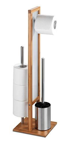 WENKO Stand WC-Garnitur Rivalta, mit integriertem Toilettenpapierhalter und WC-Bürstenhalter, aus echtem Bambus, 23 x 70 x 18 cm, Braun