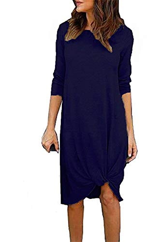 Fronage Long Sleeve Dresses for Women Casual Midi Dress Knee Length (Dark Blue, Medium)