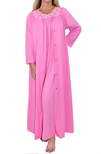 Shadowline Women's Petals Flutter Sleeve Long Gown and Robe Peignoir Set, Rosy Pink, Large