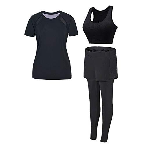 YALIXI Yoga Sportbekleidung, Gewichtsverlust Im Sommer Für Frauen Laufen Große Dünne Atmungsaktive Lockere Fitnesskleidung Dreiteiliger Anzug,C Black,XXXL