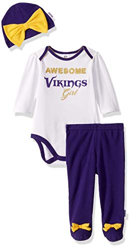 NFL Minnesota Vikings Girls BODYSUIT FOOTED PANT AND CAP, Team Color, 6-9M