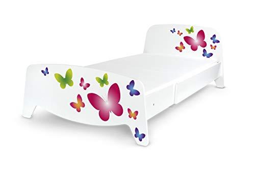 Leomark Einzelbett mit Lattenrost - Sophia - Holzbett ausziehbar auf 90x200, Verstellbares Bett für Kinder und Erwachsene, Komplett Set, Liegefläche 90/200 (Matratze 140/90 cm - Schmetterlinge)