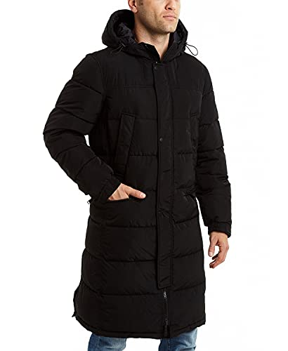 Vince Camuto Men's Long Insulated Warm Winter Coat Parka, Black, Small