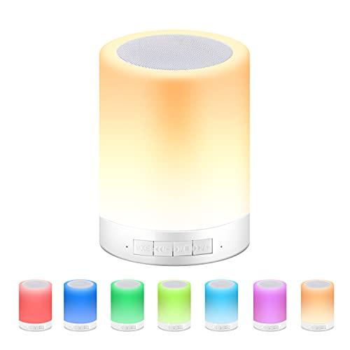 Luz de Noche Recargable,DEKITA Altavoz Bluetooth inalámbrico con Luz Nocturna,Portátil Smart Touch Control Lámpara de Mesita de Noche ,Regulable (Tres Intensidades),Control...