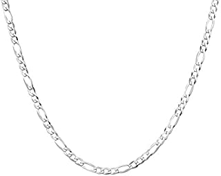 Sterling Silver Flat Figaro Chain Necklace For Men and Women, 925 Solid Sterling Silver Figaro Chain With Lobster Clasp, I...