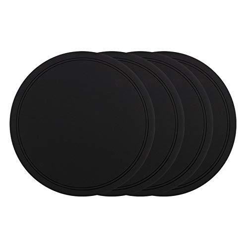 WPJ Posavasos Bebida Posavasadores Conjunto de 8 Protección de la Mesa para Cualquier Tipo de Mesa. Posavas Suaves Posavasos Reutilizable Posavasos (Color : Black, Size : 4.7in)
