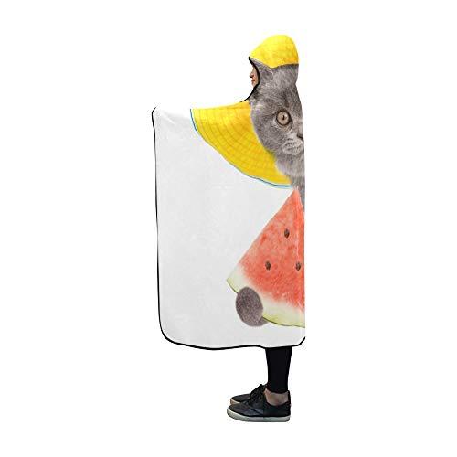 JOCHUAN Hooded Blanket Lustiger Sommer-Katzen-Hut, der über Decke 60x50 Zoll Comfotable mit Kapuze Throw Wrap späht