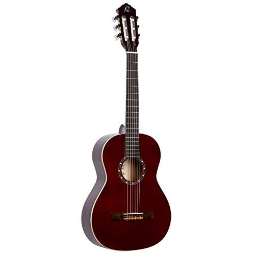 Ortega R121-3/4WR - Guitarra clásica, abeto y caoba, tamaño 3/4, color rojo
