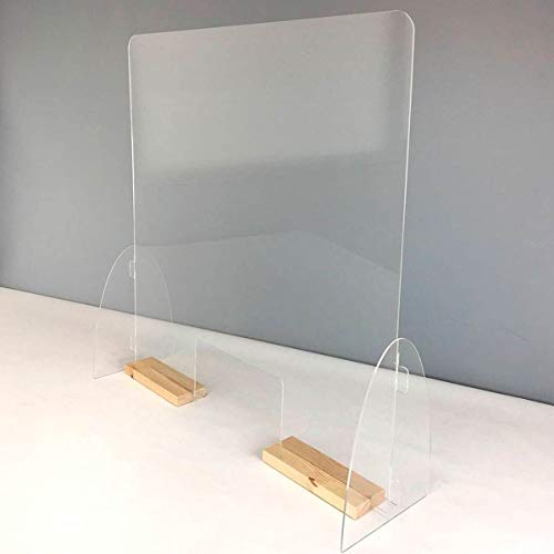 Mampara mostrador. Pantalla de protección. Separador transparente para Farmacias, supermercados, recepciones, hoteles, tiendas y comercios.(Ancho 84 cm y Alto 100 cm) (Peanas color pino)