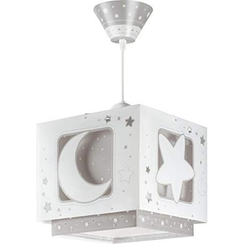 Dalber - Lampada da soffitto, a sospensione quadrata, motivo: luna,Colore Grigio