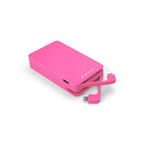 Juice Weekender High Capacity Portable Power Bank with Built In Connectors, iPhone, Samsung, Huawei, iPad, 8400 mAh, Pink