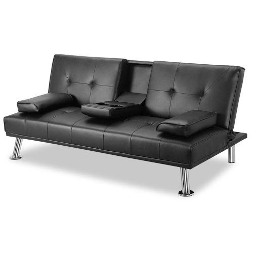 AINN 66 Inch Futon Sofa Bed, Twin Convertible Loveseat Sofa Couch, Removable Armrests Faux Leather Folding Sleeper Sofa with Cup Holder for Living Room Bedroom, Apartment and Small Space(PU, Black)
