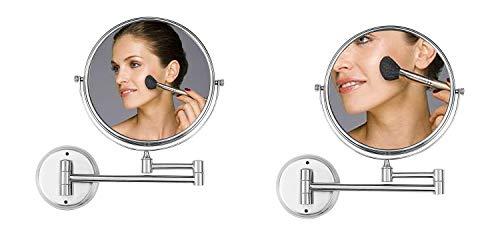 Ambrosya® | Exclusivo Espejo cosmético de Acero Inoxidable con 5 aumentos | Baño Lámpara LED Maquillaje Espejo de vanidad Espejo de Mesa WC (Acero Inoxidable (Cepillado), 5X)