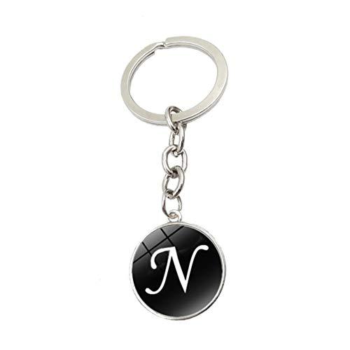 WZLDP 26 englische Buchstaben Schlüsselanhänger Metall Schlüsselanhänger Zeit Edelstein Glas-Anhänger Zubehör kleines Geschenk (Color : N)