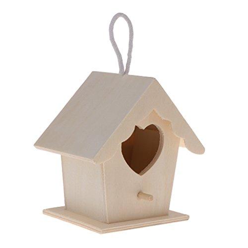 lpyfgtp Vogelhaus Vogel Nistkasten Naturholz Haus DIY kreative herzförmige Papagei Sittich hängende Vogel Villa Garten Dekoration