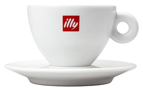 Illy Espresso, Cappuccinotassen 200 ml O/U 6 Stück weiß mit rotem Illy Logo