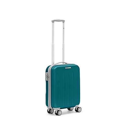 R Roncato Trolley Cabina Bagaglio a Mano Ultraleggero Serie Flight, Ideale per Voli Low Cost 55cm, in ABS 100%, Colore Azzurro