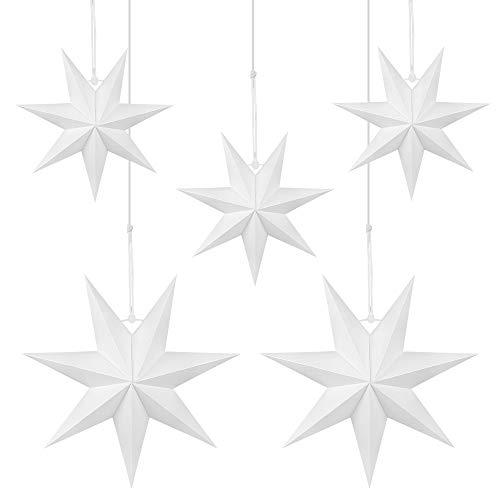 Julhängande stjärndekoration, 5 st hängande vita stjärnor, 3 delar diameter 25 cm, 7 poäng vit pappersstjärna, 2 st diameter 40 cm för bröllop julfest gör-det-själv