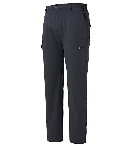 Fanient Herren Hose Cargo Jogging Pants mit praktischen Taschen, Wasserabweisende Wanderhose Outdoorhose elastischer Bund Grau XL